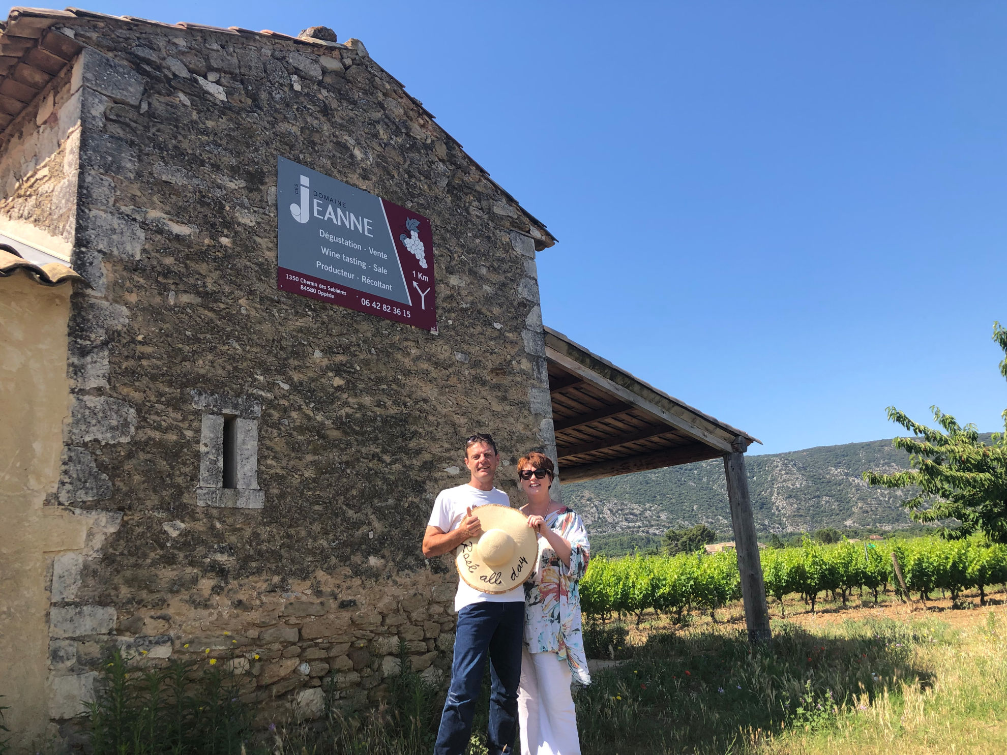 Wine-Maker & Co-Founder, Alexandre Samour with Business Development Manager, Denise Douet at the Domaine Des Jeanne Vineyard