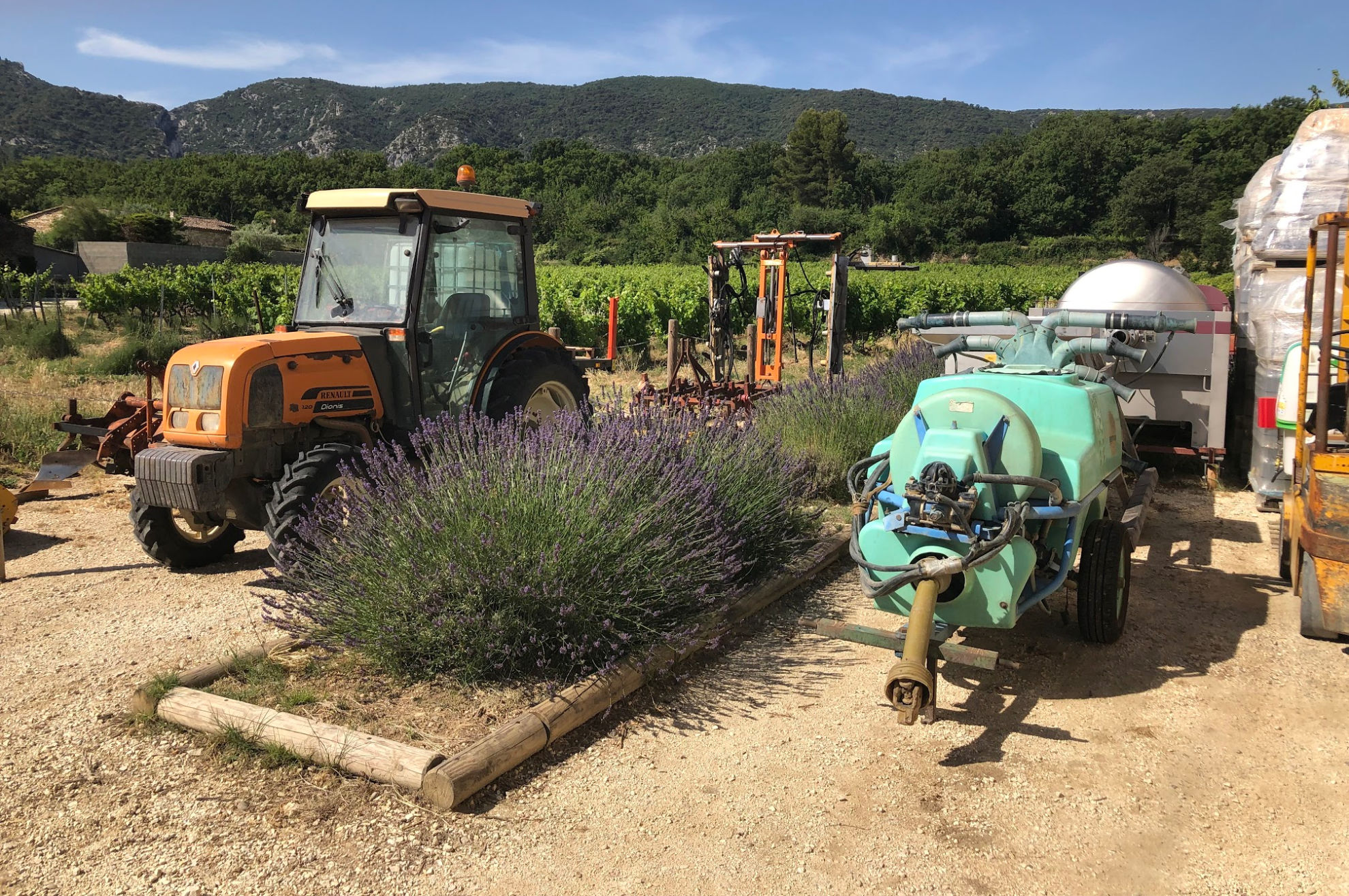 The machinery having a well-deserved rest at the Domaine Des Jeanne Vineyard