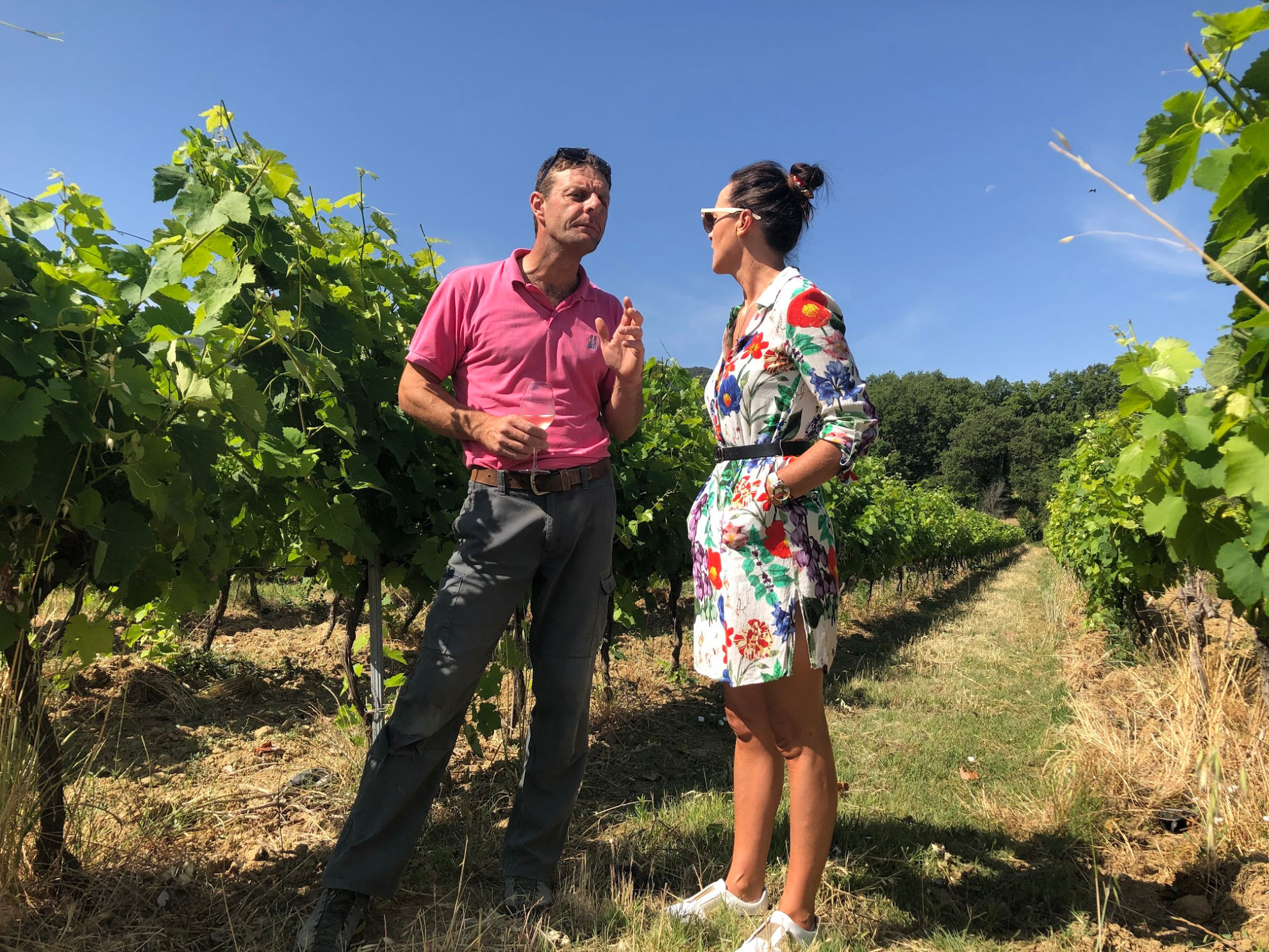 Alexandre Samour explaining to Sheelagh Tinney about the different grapes used in his wine at the Domaine Des Jeanne Vineyard