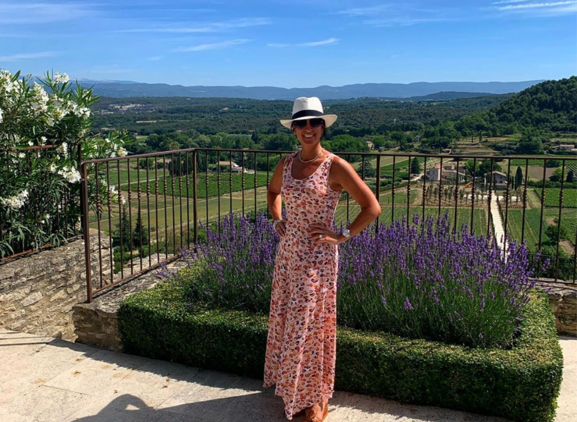 The eternally-stylish Lisa McGowan with a sea of Vineyards behind her